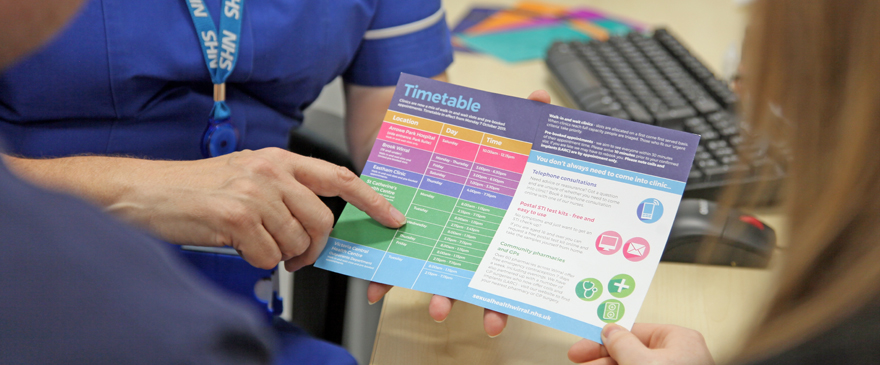 Sexual Health Wirral timetable and information leaflet.